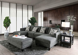 Modern Living Room Furniture - Gray Fabric Sectional Sofa Couch Ottoman Set Icam