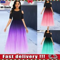Women Ladies Gradient Cold Shoulder Maxi Dress Evening Party Ball Swing Dresses $13.49