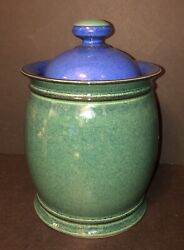 Vintage Denby Metz Storage Jar Made In England - Green And Blue - Beautiful