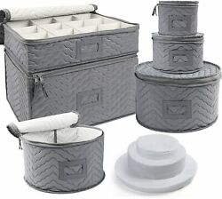 China Storage Containers Quilted Felt Plate Platter Glass Dishes Stemware Case