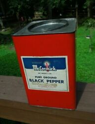 Rare Mccormick Restaurant Size 6 Pound Pure Ground Black Pepper Red Tin Vintage