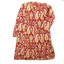 Vr Red Ikat Quilted Coat