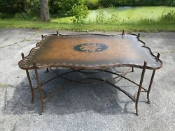 Vintage 1990s Dennis And Leen Gilded Iron Faux Bois Coffee Table Tole Leather Top