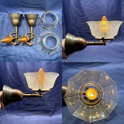 Rewired Pair 2 Early Electric Brass Sconces Gas Shades Nice 66a