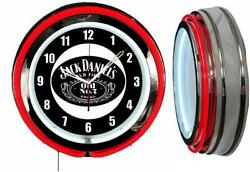 Jack Daniel's Old Time No 7 Whiskey 19 Red Double Neon Clock Man Cave Bar