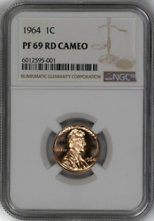 1964 1c Lincoln Cent Spotless Rare Ngc Pf-69-rd-cameo Low-pop Highest-grades