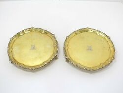 Pair Of 7 In - Sterling Silver Gilt Antique English C. 1771 Bull Footed Salvers