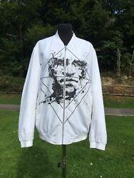 Pinli Chinese Designer White Linen Bomber Jacket With Drawing Of Face Size Xxl