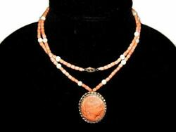 Antique Victorian 14k Gold Carved Cameo Pendant With Coral And Pearl Bead Necklace