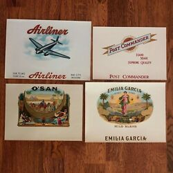 8 Cigar Box Labels Embossed Or Lithographs Mint Condition