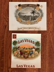 Vintage Cigar Box Labels Embossed Or Lithographs Mint Condition 2 Labels