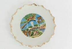 Vintage Yellowstone Park Plate Gold Boho Grand Canyon Geyser Gallery Wall