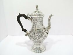 11.5 In Sterling Silver Wood Antique English C. 1897 Floral Repousse Coffee Pot