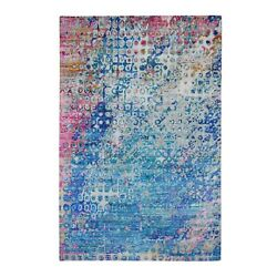 6'x9'1 The Peacock Sari Silk Colorful Hand Knotted Oriental Rug G59243