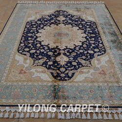 Yilong 5.6'x8.2' Hand Knotted Silk Rug Furniture Indoor Home Blue Carpet 1861