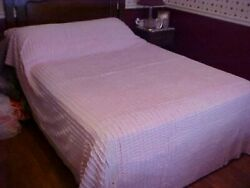 Vintage Chenille Bedspread, Pink Checker Design, Cutter As Is