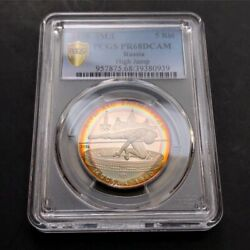 Pr68dcam 1978 Russia Cccp 5 Rubles Silver Proof Pcgs Secure- Rainbow Toned