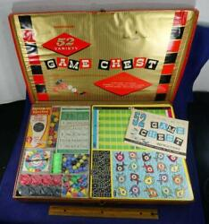 Vtg Transogram Game Chest 52 Variety Chest Complete Checkers Word Games Marbles