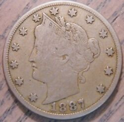 1887 Liberty Or V Nickel Semi-key Date Fine Details On Both Faces 942