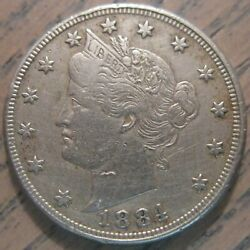 1884 Liberty Or V Nickel Semi-key Date Extremely Fine Details 920