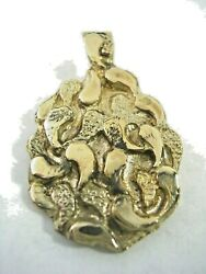 Nugget Pendant Charm In Yellow Gold Tone Brass Antiqued All High Polished Finish