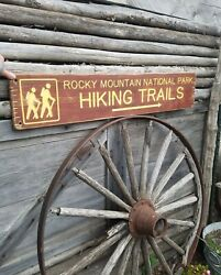 Rocky Mountain National Park Hiking Trails/rustic/carved/wood/sign/cabin/lodge