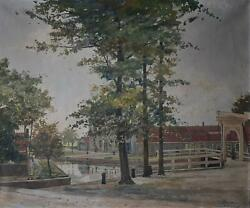 Netherlands Farmstead And Canal Oil Painting Nico Wilhelm Jungmann 1928
