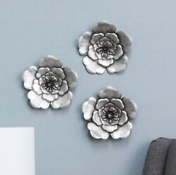 Set of 3 Silver Metal Wall Flowers Hanging Handcrafted Sculpture Accent Decor