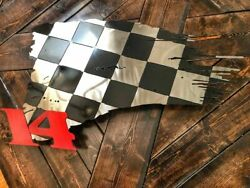 Tattered Checkered American Flag Stainless Steel