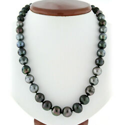 18 Graduated Large Cultured Tahitian Gray Pearl Strand Necklace 8.25-11.75mm