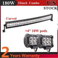 Curved 32inch 180w Led Light Bar Combo Tractor Boat Bumper Slim +4'' 18w Pods