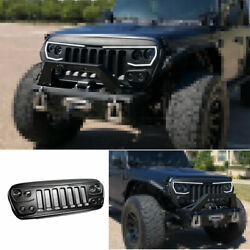 For Jeep Wrangler Jl 2018-2020 Black Abs Front Central Grille Grill Cover Trim