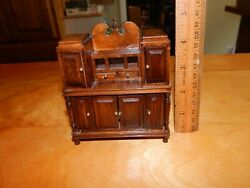 Miniature Room Box Dollhouse Wood Queen Anne Cabinet English Step Back Cupboard