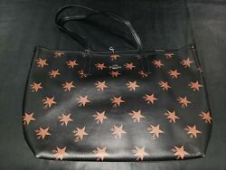 Authentic Coach Black Star Canyon Coated Canvas City Tote 35917 + Extras
