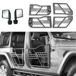 Fit For Jeep Wrangler Jk 4dr 2007-2017 Carbon Steel Half Tube Door With Mirrors