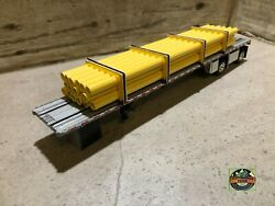 Custom Dcp Spread Axle Flatbed Trailer With Yellow Pipe Loads 1/64