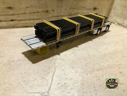 Custom Dcp Spread Axle Flatbed Trailer With Pvc Black Stain Pipe Loads 1/64