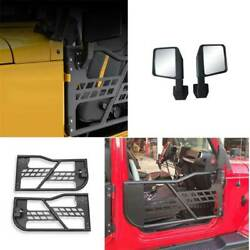 Fit For Jeep Wrangler Jk 2dr 2007-2017 Carbon Steel Half Tube Door With Mirrors