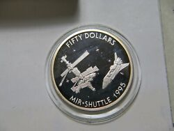 1995 Marshall Islands 50 Dollars Mir Space Shuttle Proof Silver World Coin🌈⭐🌈