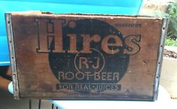 Vintage Antique Hires Root Beer Soda Pop Bottle Wood Box Crate Free Shipping