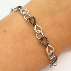 925 Sterling Silver Real Diamond Accent Infinity Heart Design Link Bracelet 7
