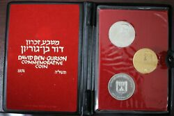 Israel 1974 David Ben Gurion Commemorative Proof Gold And Silver Coins In Box