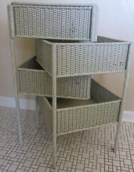 Rare Antique 1920s White Wicker Sewing Stand Hinged Lid And Pivoting Drawers