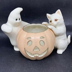 Lenox Pumpkin With Ghost And White Cat Votive Halloween