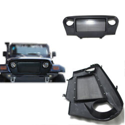 For Jeep Wrangler Tj 1997-2006 Abs Black Front Avengers Grille Grill Cover Trim