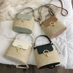 Straw Style Ladies Bucket Bags For Women Summer Travelling Shoulder Bag Handbags $32.39