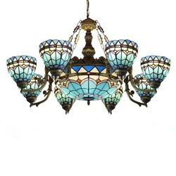 Baroque Stained Glass Lamp Shade Chandelier Retro Ceiling Pendant Light