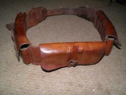 Ww 2 Military/cavalry Brown Leather Ammo Belt Bandoleer With 4 Pouches