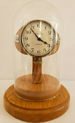 Antique Working 1920and039s Waltham 8 Day Car Automobile Clock With Glass Dome Stand