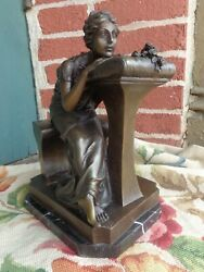 Antique French Signed Pj Mene Victorian Lady Seated Bench Bronze Statue Estate